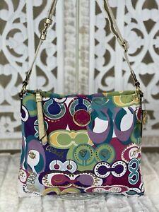 COACH Multicolor POPPY C GRAFFITI Slim Crossbody Messenger Shoulder Bag #19454
