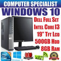 WINDOWS 10 DELL OPTIPLEX COMPUTER DESKTOP PC FULL SET INTEL CORE i3 19'' TFT