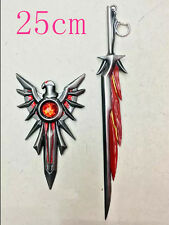 """NEW - Heavy Miniature League Of Legends Silver Red Flame Sword 10"""" with Shield"""
