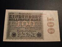 Deutsches Reich 100 Millionen Mark 1923, KN 6stellige WZ Hakensterne, top