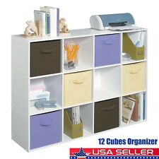 12 Cube Storage Closet Cabinet Organizer Shelf Bookcase for Living Room Bedroom