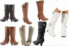 New Women's Fashion Dress  Low Heel Zipper Mid Calf Knee High Boots b999
