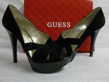 Guess Size 9.5 M Atense Black Suede Open Toe Heels New Womens Shoes