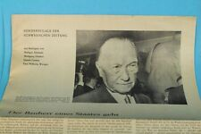 Konrad Adenauer - Sonderbeilage der Schwäbischen Zeitung - Orig. von 1963  /S94