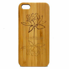 Lotus Flower Case for iPhone 5 5S SE Bamboo Wood Cover Buddhist Yoga Awakening