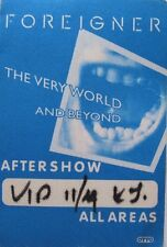 Foreigner Backstage Pass The Very World And Beyond Tour V.I.P. All Areas