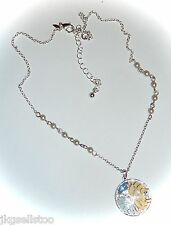 NRT NECKLACE - BLUE/CREAM/SILVER FLORAL PENDANT w/CRYSTAL & SILVER/PEARL CHAIN