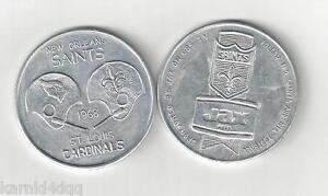 1968 NEW ORLEANS SAINTS ST. LOUIS CARDINALS PROGRAM FOOTBALL COIN TOKEN JAX BEER