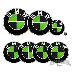 For BMW Badge Gloss Carbon Fibre Black & Green All Models Decals Stickers Fiber