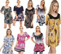 Womens Short Sleeve Floral Print Tunic Top Ladies Long Stretch Smock T Shirt