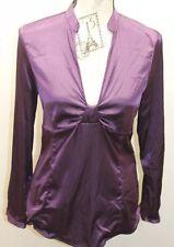 Zara Basic Women Long Sleeve Shiny Violet Blouse Shirt Spain Medium Aubergine