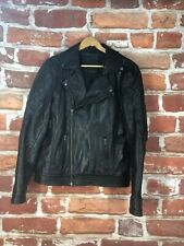 $295 ASOS M Quilted Cafe Racer Motorcycle Asymmetrical Biker Leather Jacket