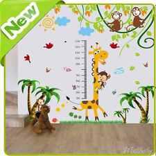 Girafe Hauteur Tableau Autocollant Mural Crèche Bébé Animaux De La Jungle Singe