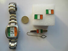 Square Rugby Football Ireland flag Wrist Watch Tie Pin and Cufflinks set gift #2