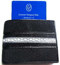 Wallet Black Man Bifold Trifold GENUINE REAL STINGRAY Skin Leather Grade A New