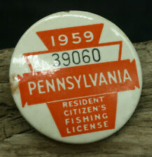 Vintage 1959 Pennsylvania Resident Citizen's Fishing Licence Button (J3)