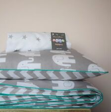 COTTON Cot Bed Duvet Cover Set & Fitted Sheet Grey Chevron Elephants