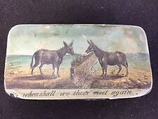 Antique Black Lacquer Box Donkeys When Shall We Meet Again Hinged