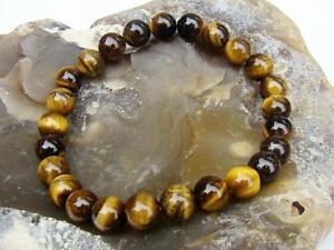 Natural Gemstone Men's Women's Elasticated beaded Bracelet 8mm TIGER EYE beads