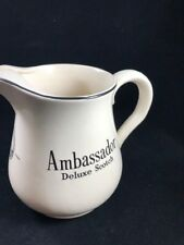 Vintage Ambassador Deluxe Scotch Whisky Ceramic Water Pitcher Pub Jug Barware