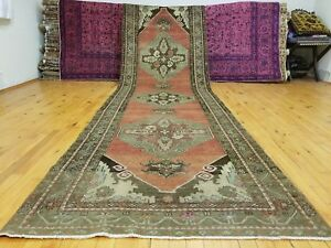 "Beautiful Antique Cr1930-1939s Wool Pile 3'4""× 11'4"" Henna Dye Oushak Rug"