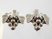 Vintage Taxco Mexico Sterling Silver Grape Cluster Clip On Earrings 925