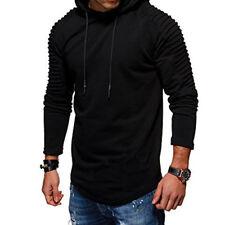 Men Top T-Shirt Long Sleeve Slim Fit Hooded Sweatshirt Pullover Sweat Hoodies