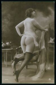 French nude woman butt flasher & stockings original c1910-1920s photo postcard