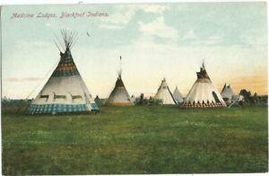 MT Montana Canada 1910 Postcard, Blackfoot Indian Teepees