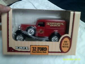 NIB Ertl '32 Ford Panel Truck Die Cast Bank-Anheuser Busch-1/25 Scale