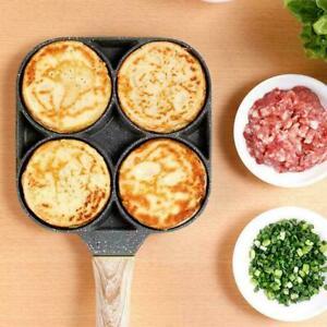 4-Loch-Omelettpfanne für Burger Egg Ham Pancake Maker Bratentopf Holzgriff