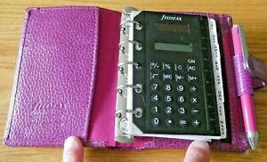 Filofax Mini Finsbury Raspberry Leather Filofax with Pen, Calculator and Inserts