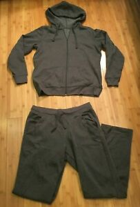Womens gray fleece St. John's Bay sweatsuit tracksuit medium
