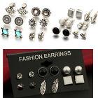 12 Pair New Fashion Women Lady Girl Elegant Crystal Rhinestone Ear Stud Earrings