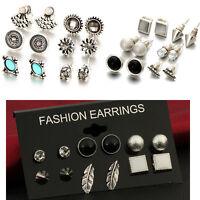 New 12 Pair Elegant Women Crystal Rhinestone Ear Stud Fashion Earrings Jewelry