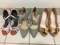 Worn used preloved ladies high heels Vivaz dance shoes formal buckles nude pink