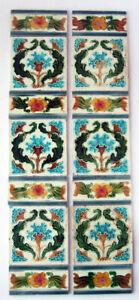 """Unusual Antique Set Art Nouveau Fireplace Tiles with Spacers Birmingham 30"""" x 6"""""""