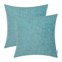 2Pcs Teal Cushion Covers Pillow Shell Case Solid Dyed Soft Chenille Sofa 40x40cm