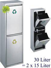 30 L. Abfallsammler Mülltrennung Mülleimer Abfalleimer 2x15 L,orig. Made for us®