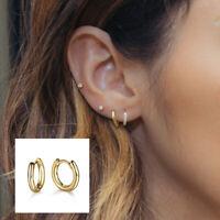 Klapp Creolen Rund echt Sterling Silber 925 Damen Ohrringe Kreolen