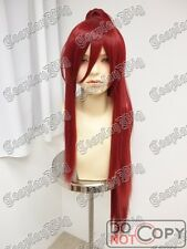 "100cm 40"" long CLIP ON RED STRAIGHT PONYTAIL cosplay WIG TENGEN TOPPA YOKO"