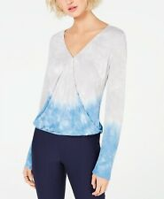 INC International Concepts  Tie-Dyed Surplice Top GREY BLUE SIZE SMALL