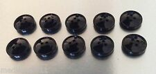 SHINY BLACK SLIGHTLY DOMED BUTTONS X 10 NEW