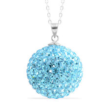 Light Blue Austrian Crystal (Rnd) Pendant With Chain (18 in)