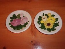 Beautiful Vintage Pottery Floral Wall Plates Plaques CA. 1973 *EVC*