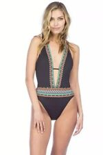 Nanette Lepore Tribal Beat Goddess One Piece Swimsuit Black 0-2 XS Extra Small