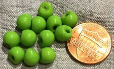 "12 Small Shiny Lime Green Glass Ball Buttons Germany Just Over 1/4"" 7mm # 8176"