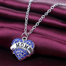 """""""Mom"""" BLUE Crystal Heart Charm Fashion Necklace  Gift  MOTHERS DAY Family"""