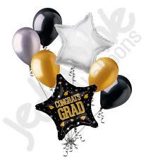 7pc Congrats Grad Gold & Silver Star Balloon Bouquet Party Decoration Graduation