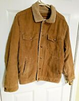 Mens Small Aeropostale Golden Brown Corduroy Sherpa Lined  Coat/Jacket